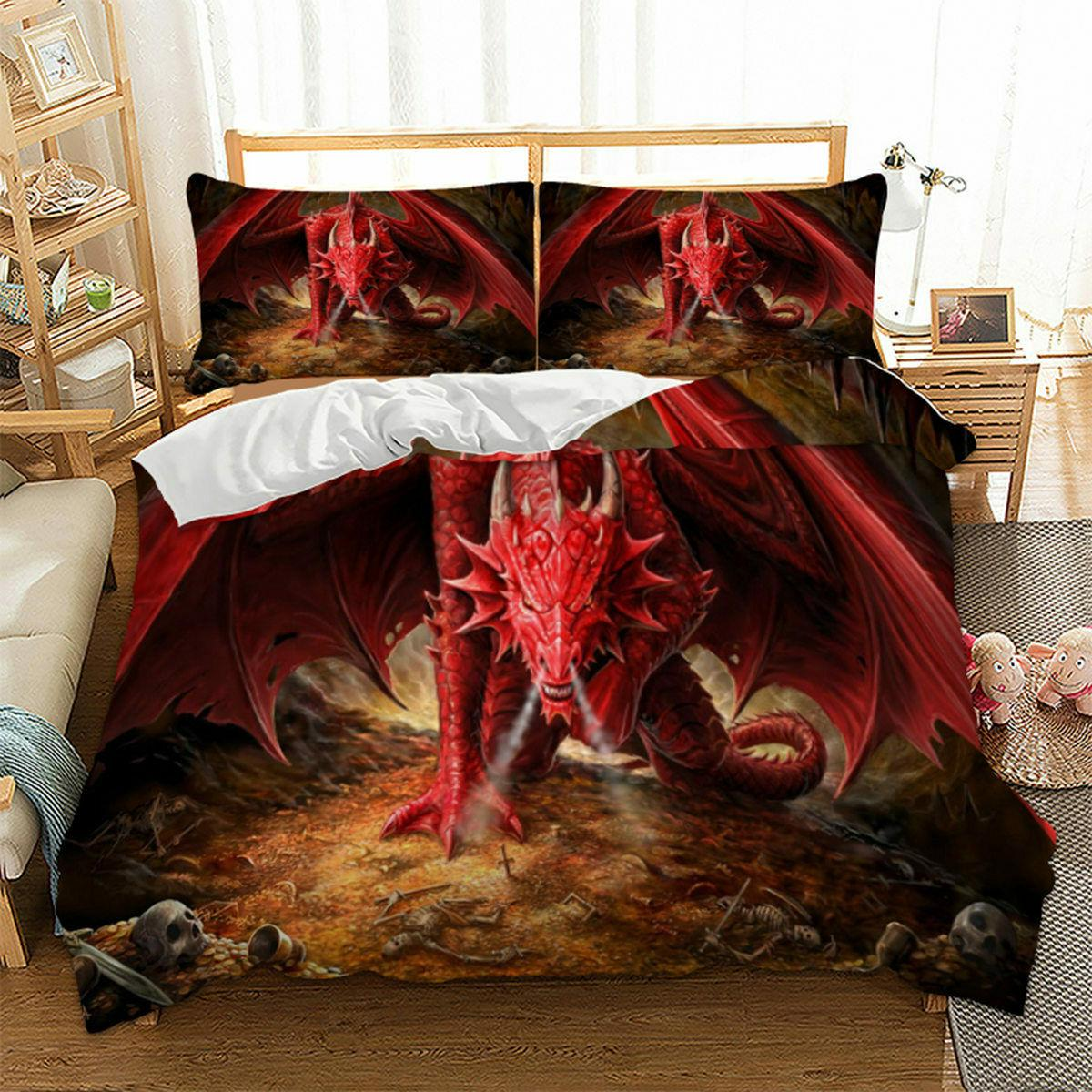 Red Dragon Duvet Cover Size Beddding Beast US