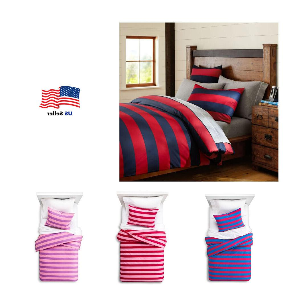 rugby stripe duvet cover set twin