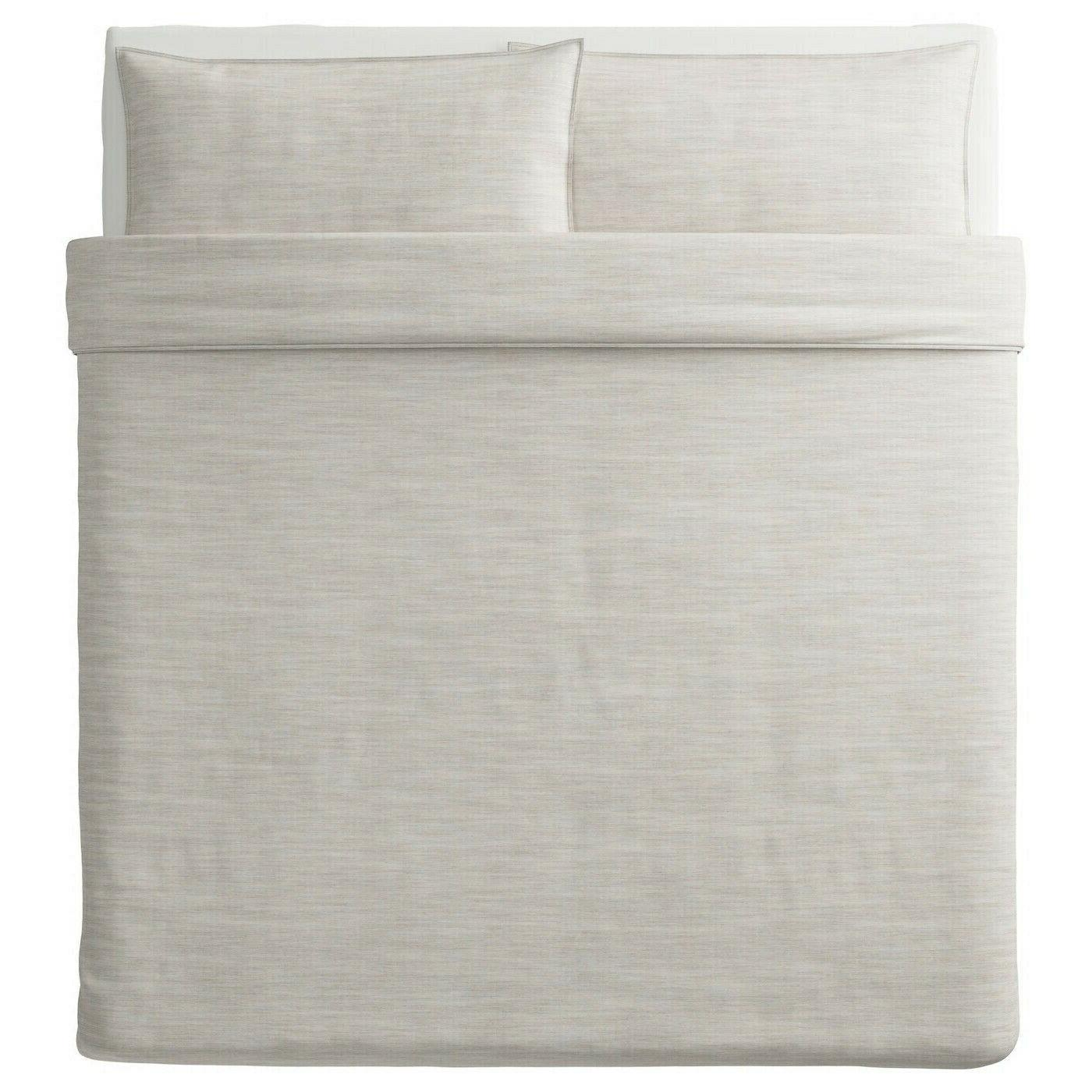 Ikea Cover w/2 Pillowcases set Woven Beige Striped