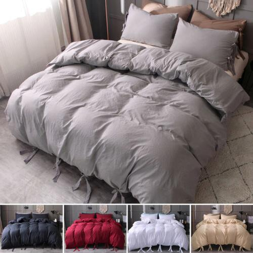 Solid Tie Strap Duvet Cover Pillowcase Set King