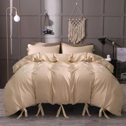 Solid Tie Strap Cover Pillowcase Set Queen King