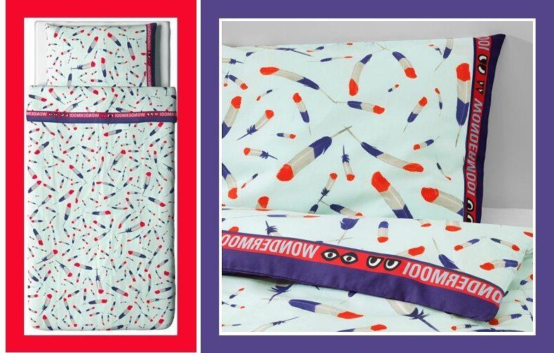 IKEA Twin GLÖDANDE Red White Blue Feather Duvet Cover Pillo