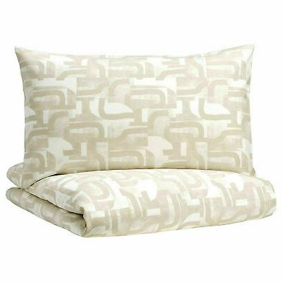 IKEA COVER SET WHITE BEIGE ABSTRACT