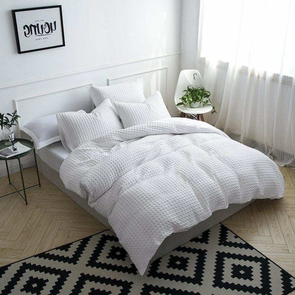 Merryfeel Waffle Cover Set 100% Cotton White set Queen King
