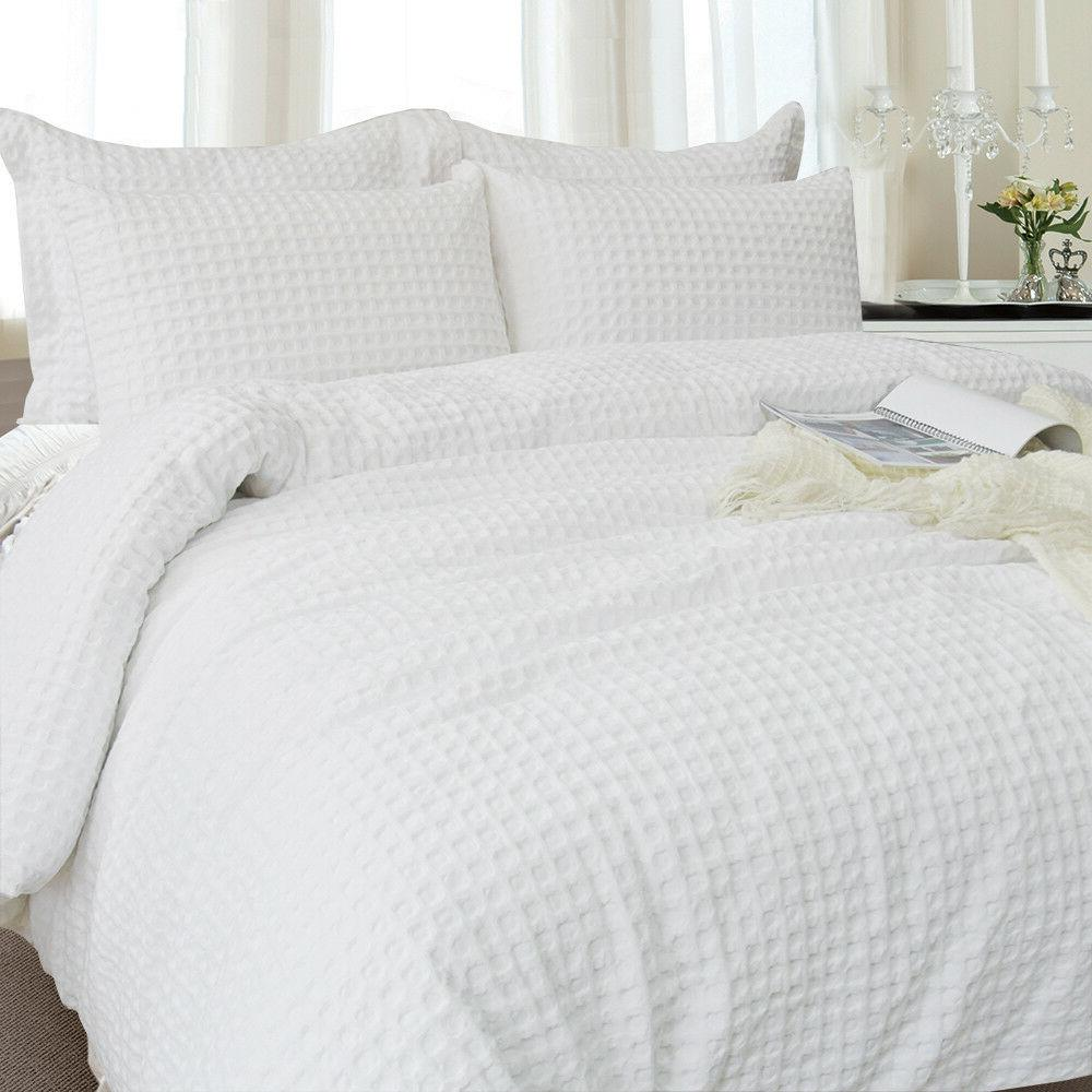 Merryfeel Waffle Weave Cover Set White bedding King