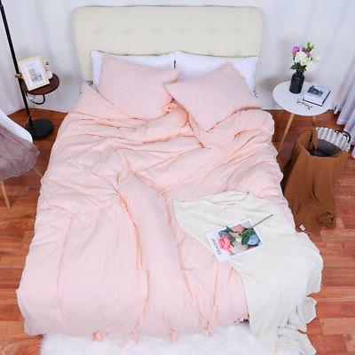 Washed Cotton Comforter Duvet Pillowcase Bed