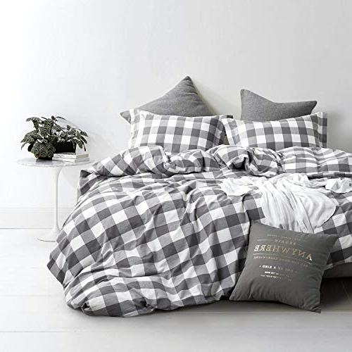 Wake In Cloud - Washed Cotton Duvet Cover Set, Buffalo Gingham Plaid Printed and White, Cotton Bedding, Zipper Closure