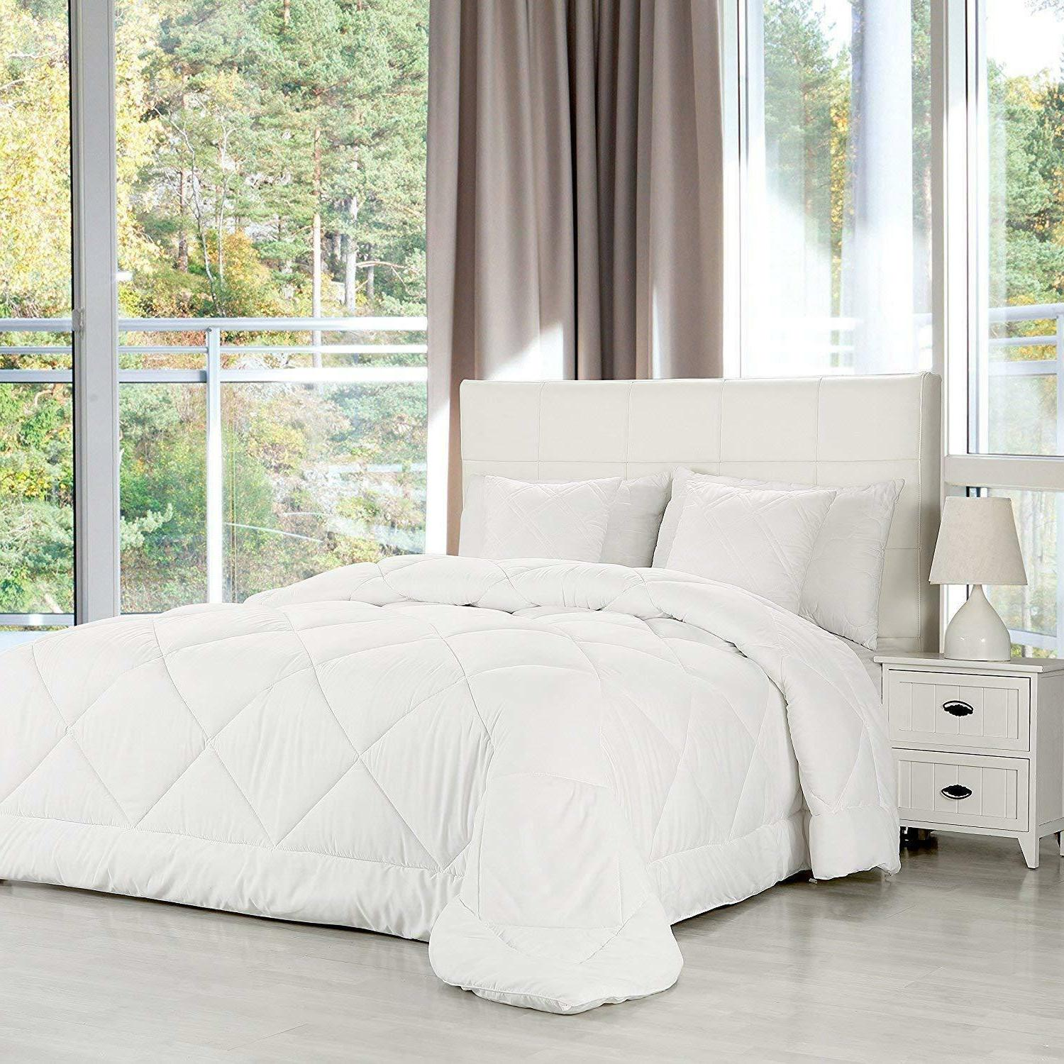 White Queen Size Duvet Set Quilted
