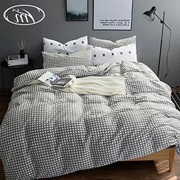 VM VOUGEMARKET Grid Duvet Cover Set Queen,Premium Cotton 3 P