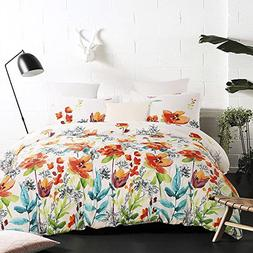 Vaulia Lightweight Microfiber Duvet Cover Set, Colorful Flor