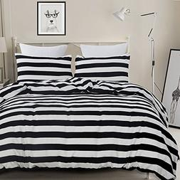 Vaulia Lightweight Microfiber Duvet Cover Set, Black and Whi