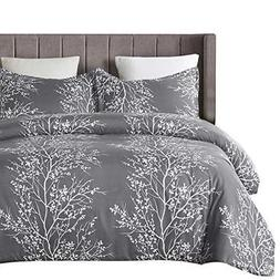 Vaulia Lightweight Microfiber Duvet Cover Set Grey and White