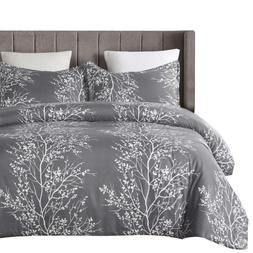 Vaulia Lightweight Microfiber Duvet Cover Set, Grey and Whit