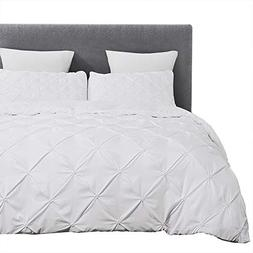 Vaulia Lightweight Microfiber Duvet Cover Sets, White-Tufted