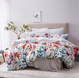 Leadtimes Duvet Cover King Floral White Boho Hotel Bedding S