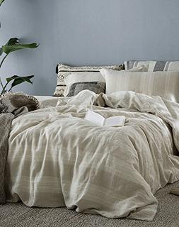 Merryfeel 100% Linen Duvet Cover Set - Full/Queen - Natural