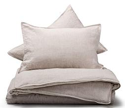 meadow park Stone Washed French Linen Duvet Cover Set 3 Piec