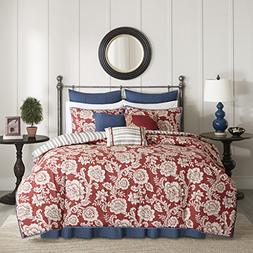 Madison Park Lucy Duvet Cover Queen Size - Red, Navy, Revers