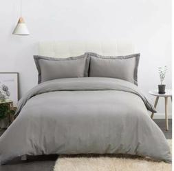 Bedsure Luxurious Duvet Cover Set with Zipper Closure Solid