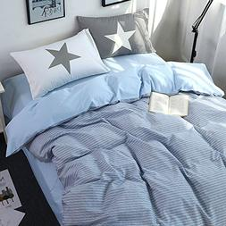 VM VOUGEMARKET Striped Bedding Set,Blue Duvet Cover King Siz