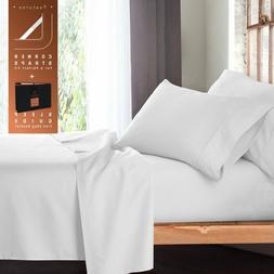 LUXURY DUVET SET TWIN SIZE WHITE SOLID 600 THREAD COUNT 100%