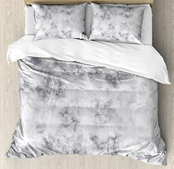 Ambesonne Marble Duvet Cover Set Queen Size, Granite Surface