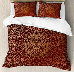 Maroon King Size Duvet Cover Set by Ambesonne, Antique Arabi