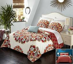 Chic Home 4 Piece Maxim Large Scale Paisley Bohemian REVERSI