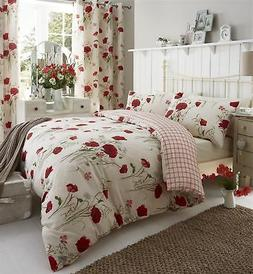 MEADOW POPPY DAISY RED KING SIZE COTTON BLEND REVERSIBLE DUV