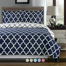 Meridian 100% Cotton Reversible Duvet Cover Soft Printed Com