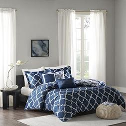 Madison Park Merritt 6 Piece Reversible Duvet Cover Set Navy