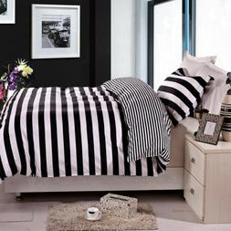 NTBAY 3 Pieces Duvet Cover Set Black White Striped King Quee