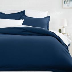 AmazonBasics Microfiber Duvet Cover Set - Full/Queen, Navy B