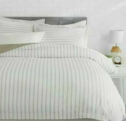 AmazonBasics Microfiber Duvet Cover Set - King, Taupe Stripe