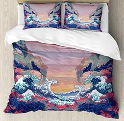 Ambesonne Modern Duvet Cover Set King Size, Colorful Fantasy