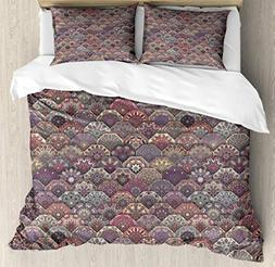 Ambesonne Moroccan Duvet Cover Set King Size, Colorful Vinta