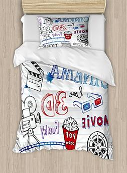 Ambesonne Movie Theater Twin Size Duvet Cover Set, Various H