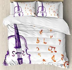 Ambesonne Music Duvet Cover Set King Size, Musical Notes Ins