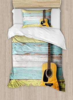 Ambesonne Music Duvet Cover Set Twin Size, Acoustic Guitar o