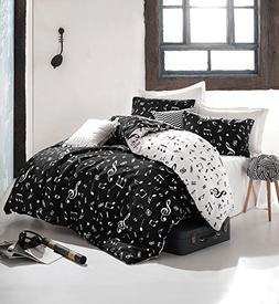Pattern LaModaHome Shapes Duvet Cover Set Set of 3 Duvet Cover and 2 Pillowcases for Full Bed 65/% Cotton 35/% Polyester White Black Yellow Zigzag