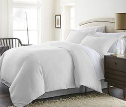 Westin Duvet Cover w/Zipper and Rounded Corners, White, Stri
