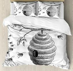Nature Queen Size Duvet Cover Set Hand Drawn Honeycomb with
