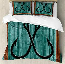 Nautical Duvet Cover Set with Pillow Shams Fishing Lures Anc