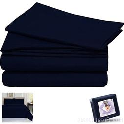 NEW Navy Blue King Size 3 Piece Soft Duvet Cover Set Bedding