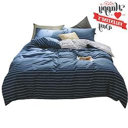 Navy Blue Striped Queen Duvet Cover Set Cotton Hotel Quality