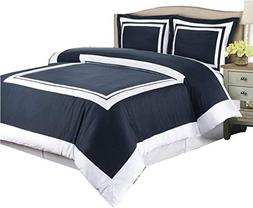 Hotel Navy and White 3-Piece Full / Queen Duvet-Cover-Set, 1