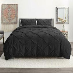 Nestl 3 Piece Luxurious, Modern Pinch Pleated Duvet Cover, M