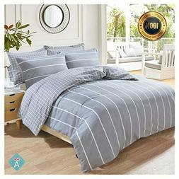 NEW Taiyihome 5-Piece Duvet Cover Set Reversible Soft Gray D