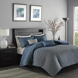 "New Madison Park ""Biloxi"" 6 Piece Duvet Cover Set in Navy, K"