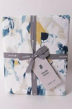 NWT West Elm Abstract Petals FQ duvet cover full queen blue